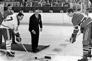 Seymour Knox III dropping the puck at the First Sabres Game, 1970