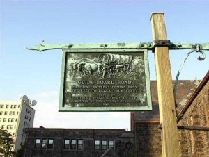 Guide Board Road sign, on North Street near Franklin Street