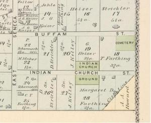 1880 Erie County Atlas depicting Seneca Indian Church Ground and Cemetery location.