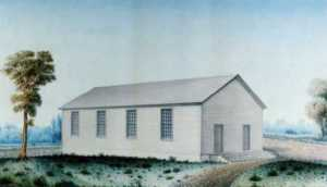 Color Portrait of the First Building of the First Presbyterian Church  (First Presbyterian Church archives)