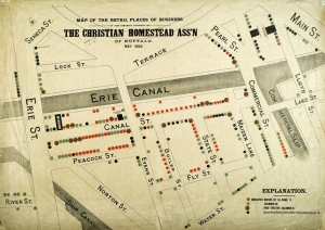 """1893 Map from the Christian Homestead Association of the """"Houses of Ill-Fame"""" in the Canal District"""