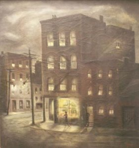 A 1947 painting titled Dante Place by Joseph Carvana