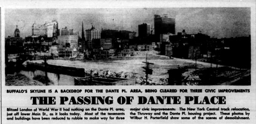 Photo from the Courier Express - 1950 during demolition for construction of the Dante Place Project