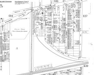 """1917 view of the Former Doll Farm after the railroad was built and the streets were subdivided and developed. Note """"Doll's Park"""", the future location of Emerson Vocational School (now School 97, Harvey Austin School)"""