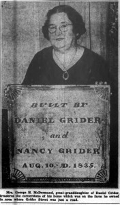 Daniel Grider's great-granddaughter.  Courier-Express, February 4, 1940