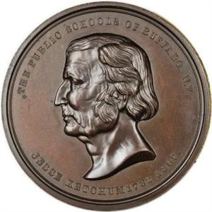 Front of the Jesse Ketchum Medal - with a portrait of Mr. Ketchum