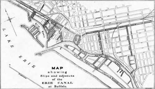 Map Showing Different Canal Era Slips. For reference, Erie Street's alignment has shifted towards the south. Commercial Slip is the one that has been uncovered at Canalside (click to view at higher resolution)