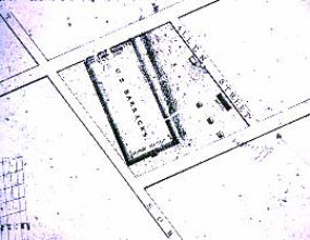 1840 Map showing the Buffalo Barracks. Source: National Parks Service, Theodore Roosevelt Inaugural Site